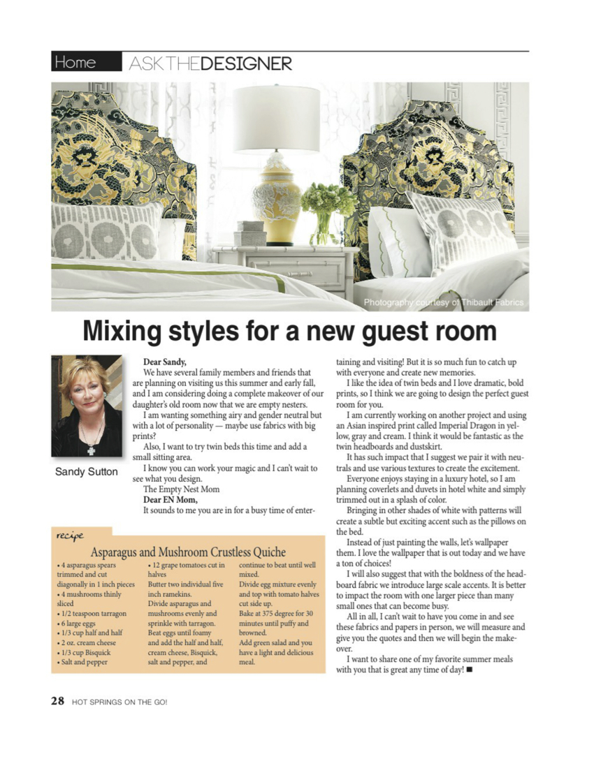 Press Sandy Sutton Award Winning Interior Designer Hot Springs Arkansas